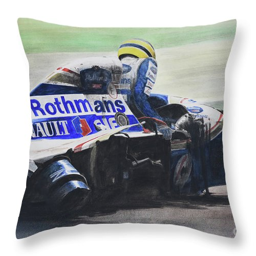 Formula One Throw Pillow featuring the painting Formula Alone by Oleg Konin