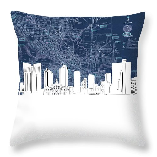 Fort Worth Throw Pillow featuring the digital art Fort Worth Skyline Map Blue by Bekim M