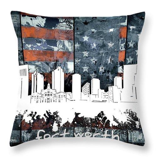Fort Worth Throw Pillow featuring the digital art Fort Worth Skyline Usa Flag 2 by Bekim Art