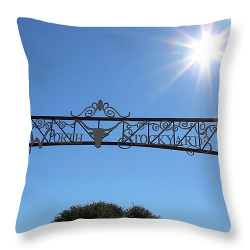 Fort Worth Throw Pillow featuring the photograph Fort Worth Stockyards Sign With Sunshine by Carol Groenen