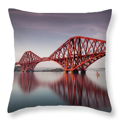 Built Structure Throw Pillow featuring the photograph Forth Rail Bridge by Jon Wild