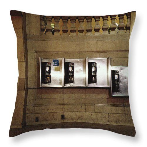 Pay Phone Throw Pillow featuring the photograph Four Telephone Booths On Marble Wall by Herb Schmitz