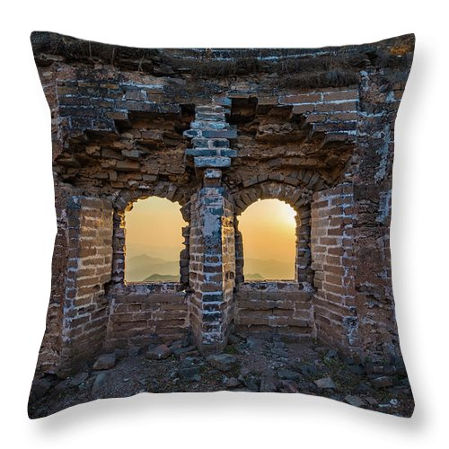 Asia Throw Pillow featuring the photograph Four Windows by Inge Johnsson