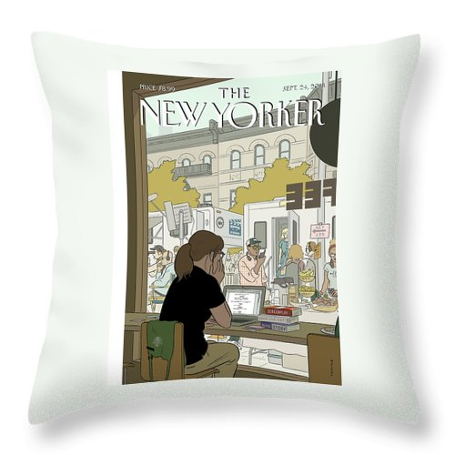 Fourth Wall Throw Pillow featuring the painting Fourth Wall by Adrian Tomine
