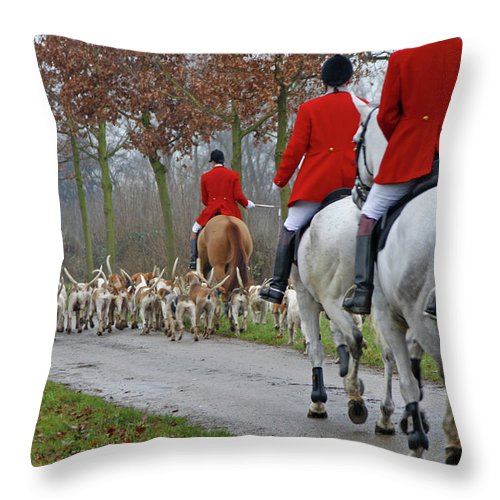 Horse Throw Pillow featuring the photograph Fox Hunt 1 by Lya cattel