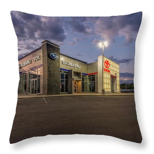 Fox Toyota Throw Pillow featuring the photograph Fox Toyota Subaru Auburn by Everet Regal