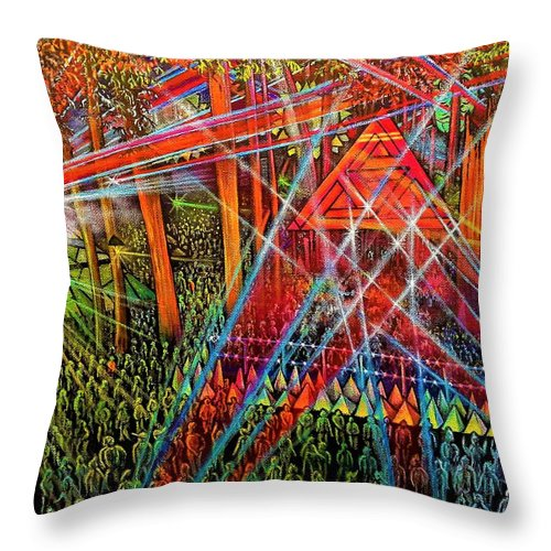 Music Festival Throw Pillow featuring the painting Fractal Forest by Donna L Byers