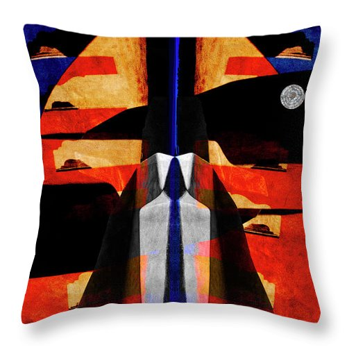 Carol Leigh Throw Pillow featuring the mixed media Fractures by Carol Leigh