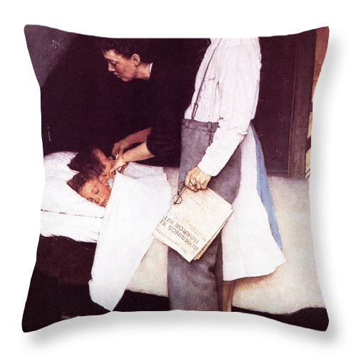 Bed Throw Pillow featuring the drawing Freedom From Fear by Norman Rockwell