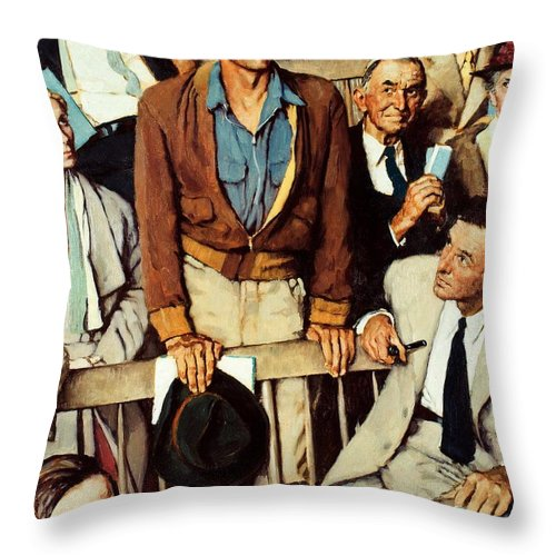 Man Standing Throw Pillow featuring the drawing Freedom Of Speech by Norman Rockwell