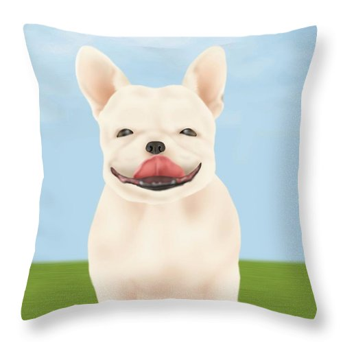 Pets Throw Pillow featuring the digital art French Bulldog Sitting On Green Field by Daj
