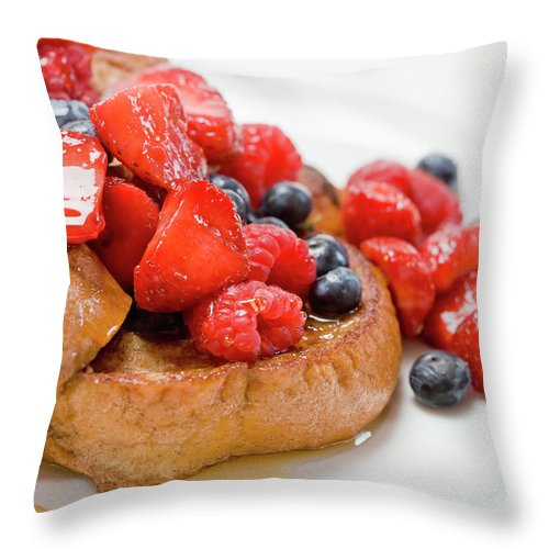 Breakfast Throw Pillow featuring the photograph French Toast With Berries And Maple by Inti St. Clair