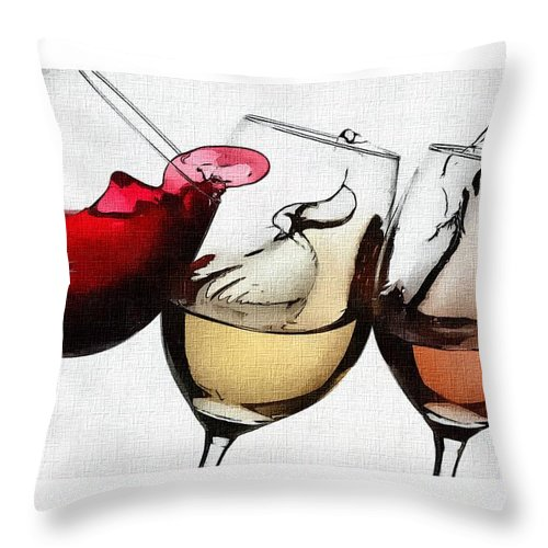 French Wines Throw Pillow featuring the digital art French Wines by David Conin