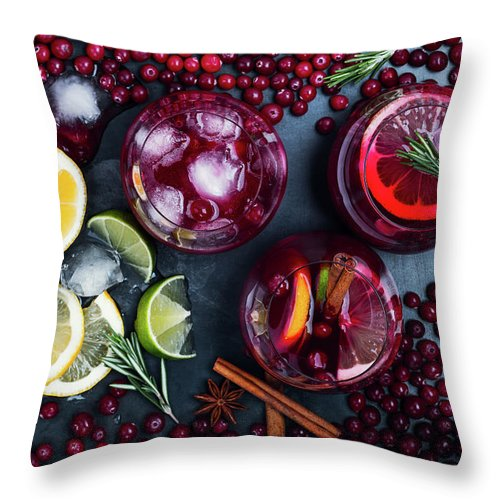 Alcohol Throw Pillow featuring the photograph Fresh Cranberry Juice Cocktail, Ripe by Istetiana