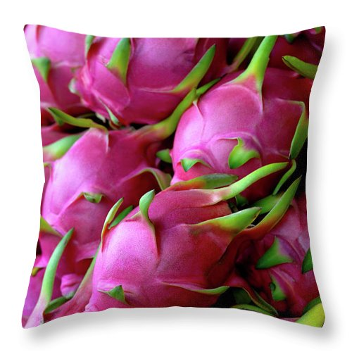 Thailand Throw Pillow featuring the photograph Fresh Dragon Fruit For Sale In A Thai by Enviromantic