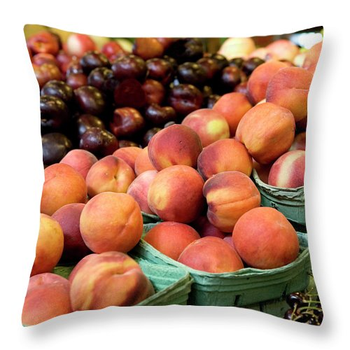 Cherry Throw Pillow featuring the photograph Fresh Peaches At Organic Market by Lillisphotography