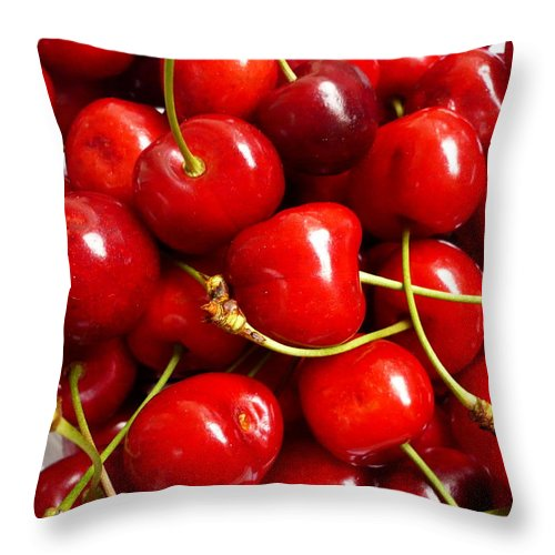 Cherry Throw Pillow featuring the photograph Fresh Red Cherries by Vienna Mornings