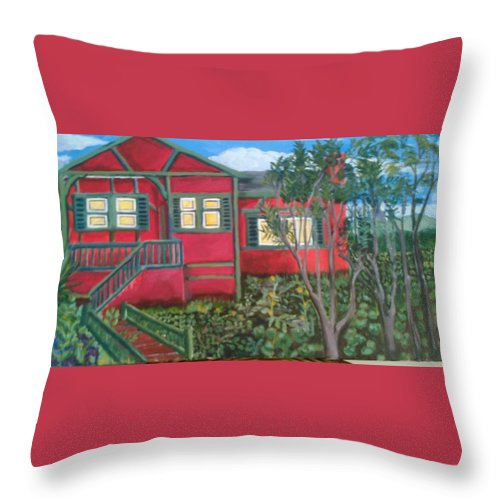 Painting Of House Throw Pillow featuring the painting Fresh yard by Andrew Johnson