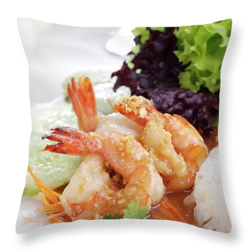 Thai Food Throw Pillow featuring the photograph Fried Shrimps With Garlic by Shyman
