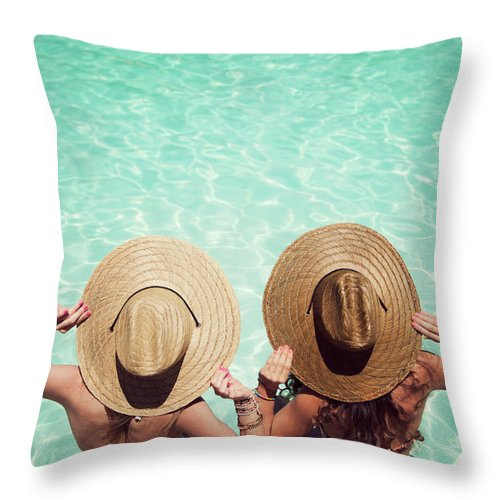 Fedora Throw Pillow featuring the photograph Friends By The Pool by Becon
