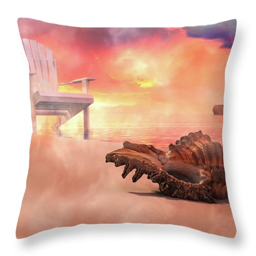 Beach Throw Pillow featuring the digital art Friends By The Sea 3d Render by Betsy Knapp
