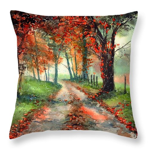 Indian Summer Throw Pillow featuring the painting Frosty Autumn Patch by Suzann Sines