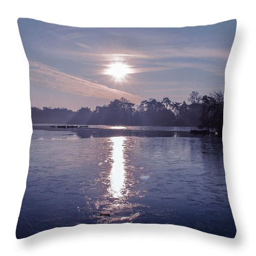 Lake Throw Pillow featuring the photograph Frozen by Claire Lowe