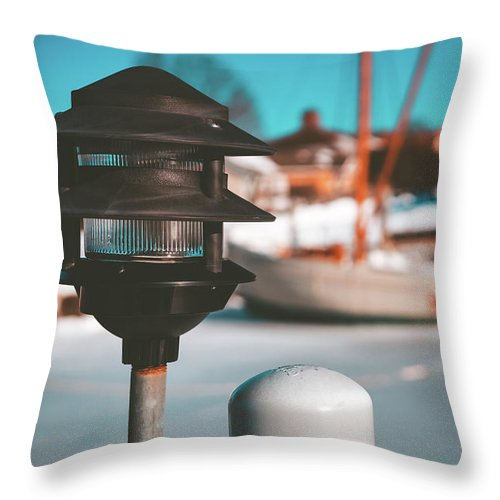 Landscape Throw Pillow featuring the photograph Frozen Seaport by Kaitlyn Casso
