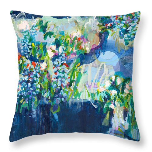 Abstract Throw Pillow featuring the painting Full Bloom by Claire Desjardins