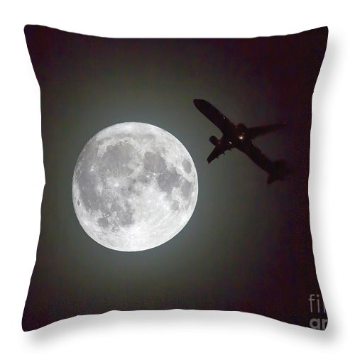 Moon Throw Pillow featuring the photograph Full Moon And Jet by Kevin McCarthy