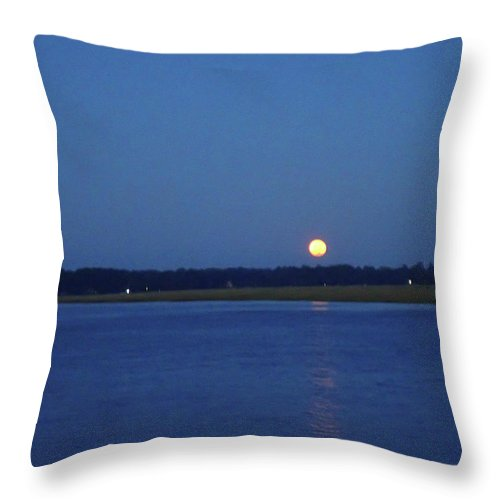 Moon Throw Pillow featuring the photograph Full Moon Setting Over Skidaway River by Iris Dayoub