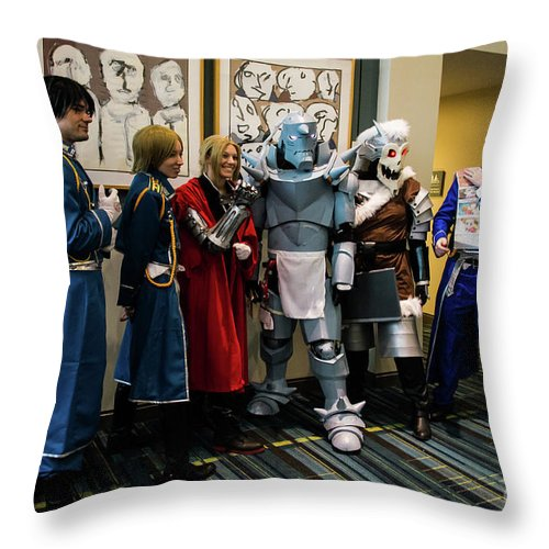 Animazement Throw Pillow featuring the photograph Fullmetal Alchemist Cosplayers by Arturo Vazquez