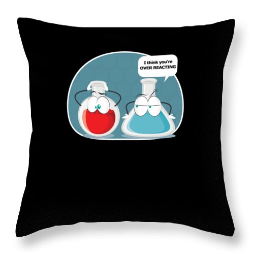 Chemist Throw Pillow featuring the digital art Funny Chemical Experiment Over Reacting by Tom Giant