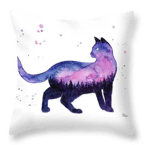 Nebula Throw Pillow featuring the painting Galaxy Forest Cat by Olga Shvartsur