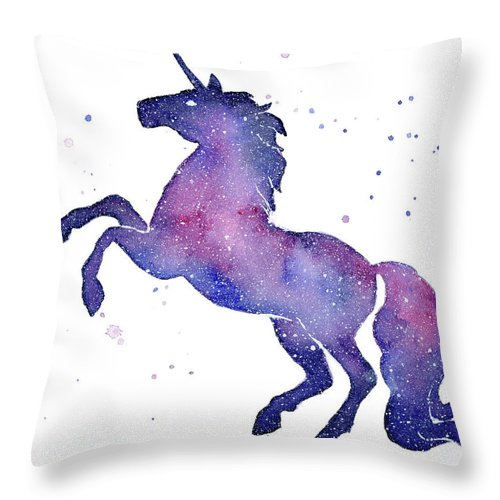 Galaxy Throw Pillow featuring the painting Galaxy Unicorn by Olga Shvartsur