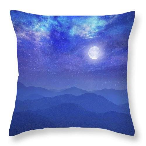 Galaxy Throw Pillow featuring the photograph Galaxy With Moon In Mountains by Dtokar