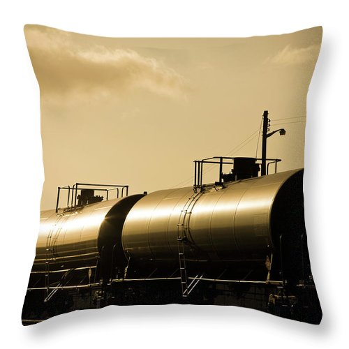 Natural Gas Throw Pillow featuring the photograph Gasoline Train At Sunset by Halbergman