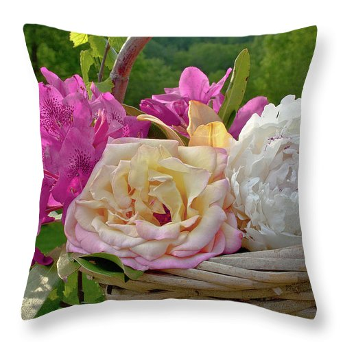 Peonies Throw Pillow featuring the photograph Gathering Summer Flowers by SL Ernst