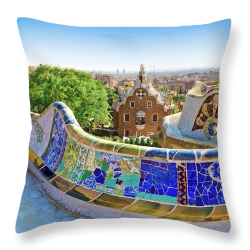 Curve Throw Pillow featuring the photograph Gaudis Parc Guell In Barcelona by Samburt