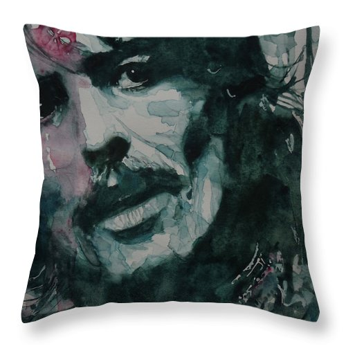 The Beatles Throw Pillow featuring the painting George Harrison - All Things Must Pass by Paul Lovering