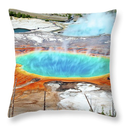 Moving Up Throw Pillow featuring the photograph Geothermal Pool With Steam Rising by Chung Hu