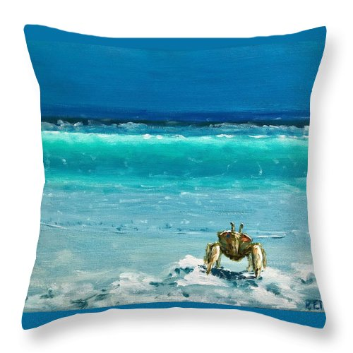 Ghost Crab Throw Pillow featuring the painting Ghost Crab by Paul Emig
