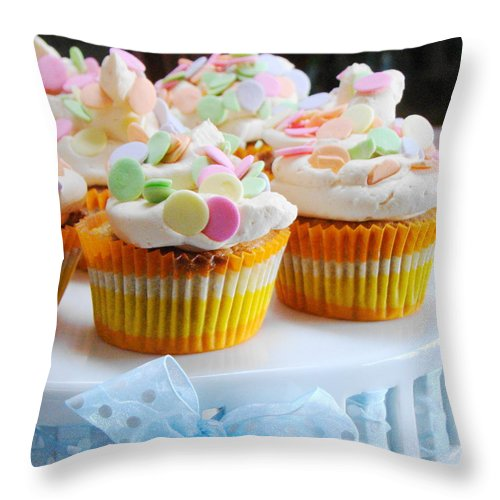 Five Objects Throw Pillow featuring the photograph Ginger Mango With Polka Dots by Janet Hudson