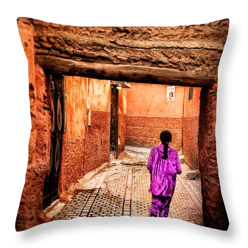 Child Throw Pillow featuring the photograph Girl In Marrakech by Nature And Beauty Photographer