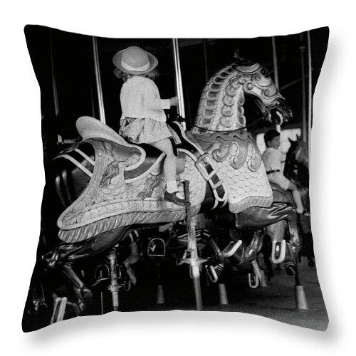 Child Throw Pillow featuring the photograph Girl Riding A Carousel by George Marks