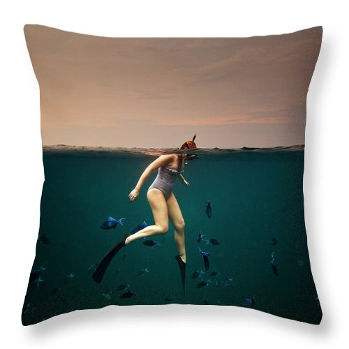 People Throw Pillow featuring the photograph Girl Snorkelling by Rjw