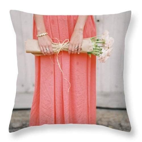 People Throw Pillow featuring the photograph Girl With Flowers by Photographed By Victoria Phipps ©