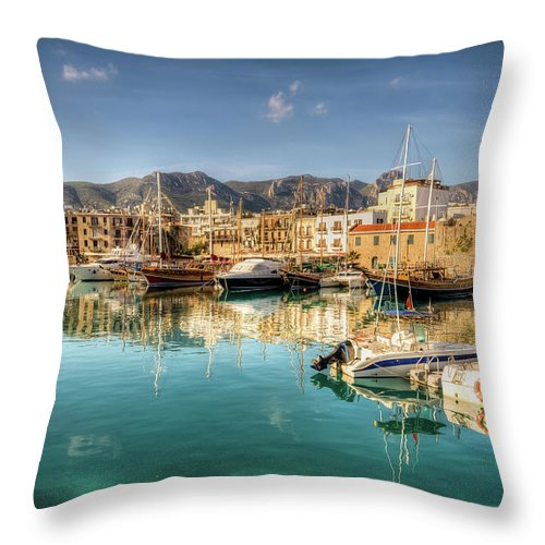 Tranquility Throw Pillow featuring the photograph Girne Kyrenia , North Cyprus by Nejdetduzen