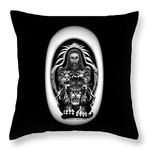Pastel Chalk Throw Pillow featuring the drawing Give Us The Truth 2 by Ras Tafari