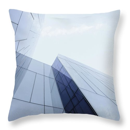 Architectural Feature Throw Pillow featuring the photograph Glass And Steel Office Building by Crossbrain66